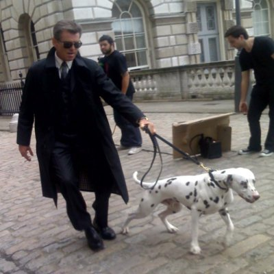 Pearce Brosnan with Frodo Dalmatian for Aquascutum