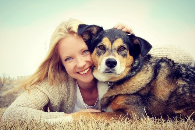 Lady with calm dog after behavourial service